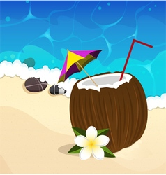 Coconut cocktail with straw and umbrella vector image