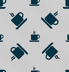 coffee icon sign Seamless pattern with geometric vector image