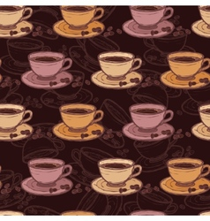 Coffee sketch seamless pattern vector image