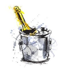 Colored hand sketch champagne vector