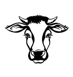 Cow head farm animal black graphic vector