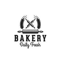 crossed rolling pin and wheat bakery logo designs vector image