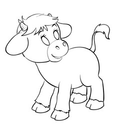 Cute calf for coloring outline drawing isolated vector