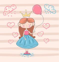 cute little princess with air balloon vector image