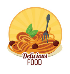 delicious food pasta meatballs italian sticker vector image