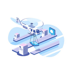 delivery documents data helicopter vector image