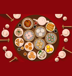 Dimsum food on the table vector