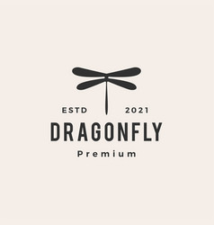 dragonfly hipster vintage logo icon vector image
