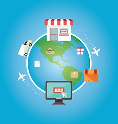 E-commerce Shopping online all over the globe vector image
