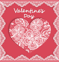 elegant card valentines day with flowers lace and vector image