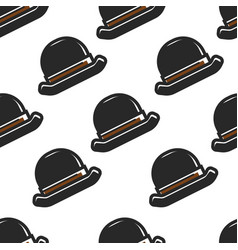 english retro hat seamless pattern headdress vector image