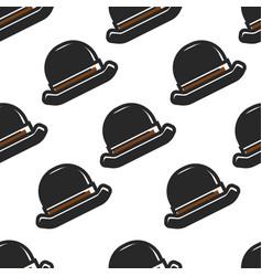 english retro hat seamless pattern headdress vector image