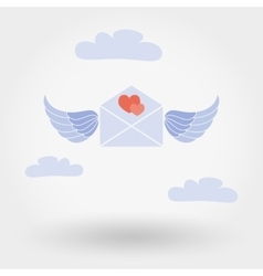 envelope with wings and two hearts in clouds vector image