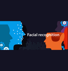 Facial recognition dots in face show how machine vector