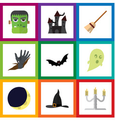 flat icon halloween set of superstition crescent vector image