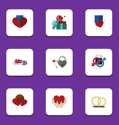 flat icon heart set of ring divorce save love vector image