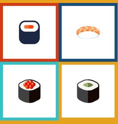 Flat icon sashimi set of maki salmon rolls vector
