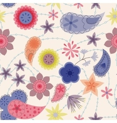 Flowers and paisley pattern vintage vector image