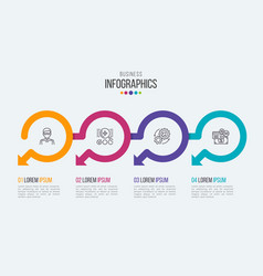 four steps timeline infographic template vector image