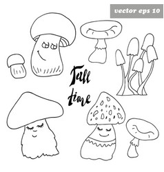funny mashrooms set vector image