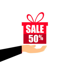 gift box on the hand with a 50 percent discount vector image