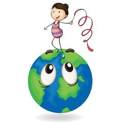 girl playing on earth globe vector image