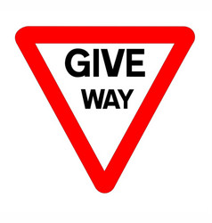 Give way traffic sign isolated vector