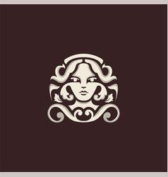 Goddess flourish logo design vector