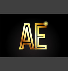 Gold alphabet letter ae a e logo combination icon vector