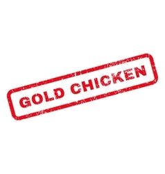 Gold Chicken Text Rubber Stamp vector