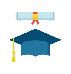 graduation cap and diploma scroll icon in flat vector image