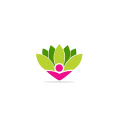 green leaf floral beauty logo vector image