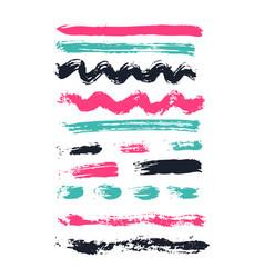 Grunge brush stroke spot ink set vector
