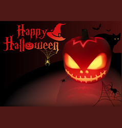 Halloween background with lightning pumpkin vector