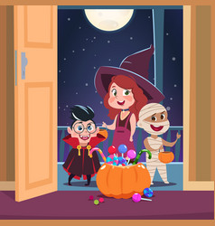 Halloween trick or treat background kids in vector