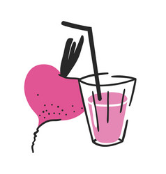 Hand drawn summer set of beetroot juice and glass vector