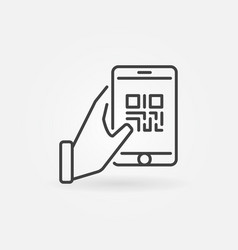 Hand holding smartphone with qr code icon vector