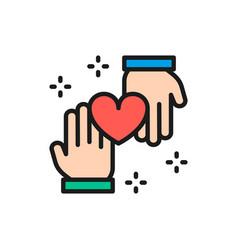 Hands with heart donation volunteering good vector