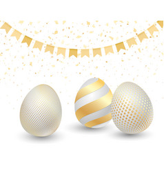 happy easter greeting card with golden eggs vector image