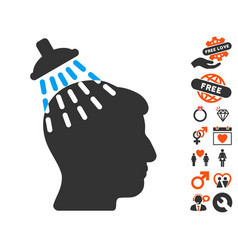 head shower icon with dating bonus vector image