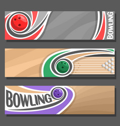 horizontal banners for bowling vector image