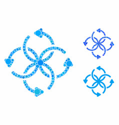 knot rotation mosaic icon round dots vector image