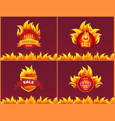 labels with heat sign icons set blazed posters vector image