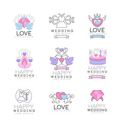 Love and wedding set for logo design collection vector