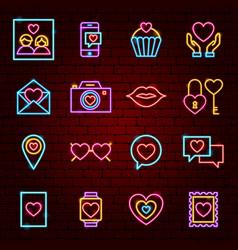 Love neon icons vector