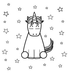 magic unicorn coloring page for adults and kids vector image