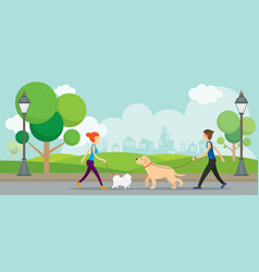 Man and woman with dogs in the park vector