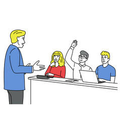 man asking with raised hand vector image
