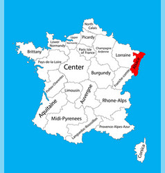 map state alsace france vector image