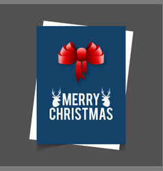 merry christmas reindeer and ribbon banner vector image